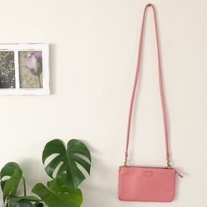 Coral Pink Leather Fossil Crossbody Bag with Gold